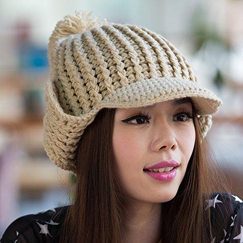 Brimmed Versión Bola la oído Maozi Sombreros Knit de Coreana Joker BEIGE Parpadea Amplio Cubierta del del Grande zBxx7nw