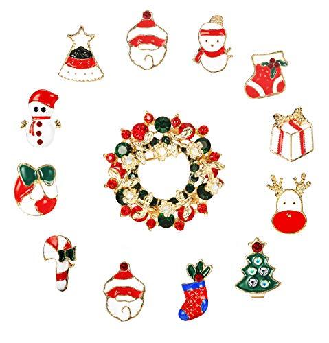 Hanpabum Christmas Brooch Pin Set Cute Enamel Xmas Gift Santa Reindeer Christmas Tree Candy Cane Wreath Pins Set Charm Pin Set