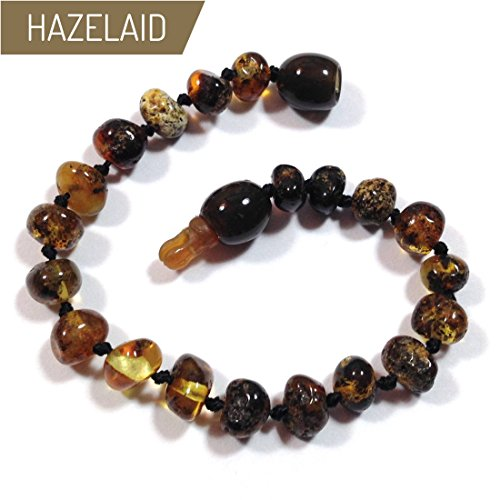 Hazelaid (TM) 5.5'' Pop-Clasp Baltic Amber Dark Green Bracelet by Hazelaid