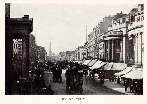 Shops Regent Street London (1905 Halftone Print Regent Street London England Famous Historic Shop Market - Original Halftone Print)