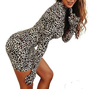 VWIWV Women's Sexy Bodycon Mini Dress Leopard Print Long Sleeve Gloves Party Dress