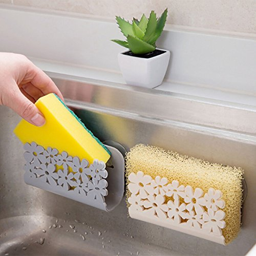 JHFUH Dish Cloths Rack Suction Sponge Holder Clip Rag Storage Rack Wall Mounted Type Non-Folding Rack Bathroom Shelves Suitable for Kitchen (Gray)