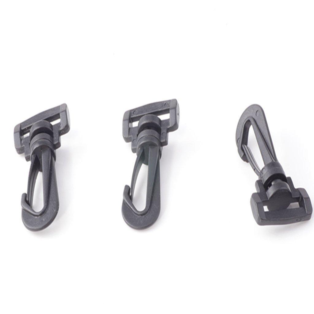 Cooplay moschettoni in plastica nera, con anello rettangolare rotante, per cinghie, valigie e borse, larghezza interna 25 mm Black