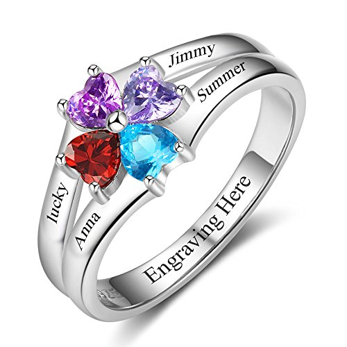 Lam Hub Fong Sterling Silver Mothers Rings with 4 Birthstones Sterling Silver Rings for Women BFF Ring Best Friend Rings Customized and Personalized