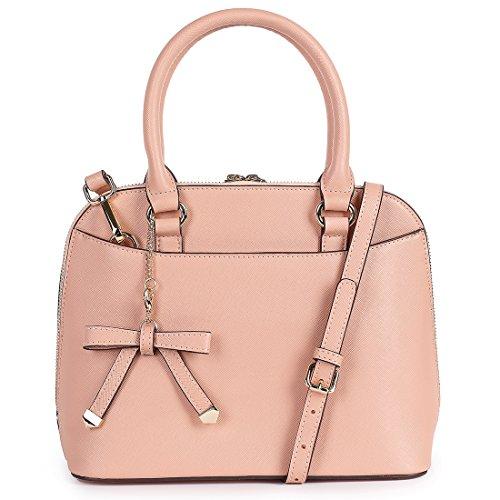 Sak&Co. Women's Dome Handbags Chic Leather Zip-Around Structured Satchel Tote Bag (Pink, Medium) (Pink Ladies Bowling Bag)