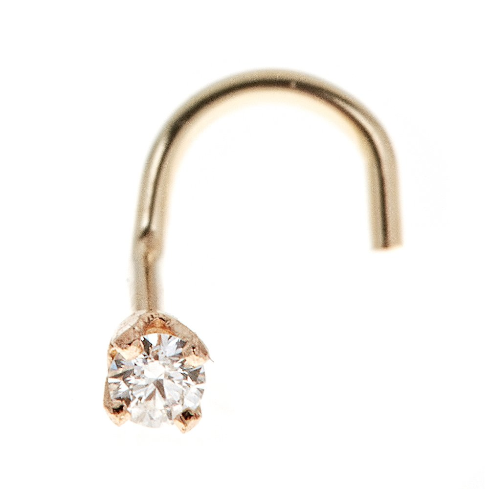 14K Yellow Gold 1.3mm .01 cttw Diamond Nose Ring Curve Stud Twist Screw 22G