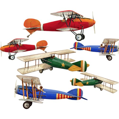 Primary Biplane Airplane Wall Sticker Decal Large Sheet