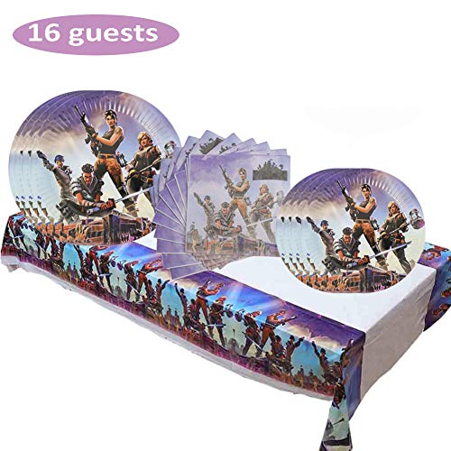 Video Game Party Supplies Plates Napkins and Table Cover Tableware Set for Kids Game Theme Birthday Party Serves 16 Guests