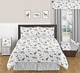 Sweet Jojo Designs Lamp Shade for Blue Grey and White Woodland Animals Bedding Collection