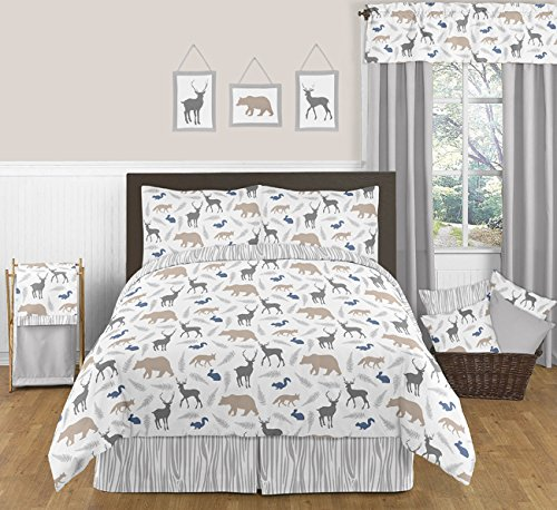 Sweet Jojo Designs 4 Piece Queen Sheet Set for Blue Grey and White Woodland Animals Bedding Collection