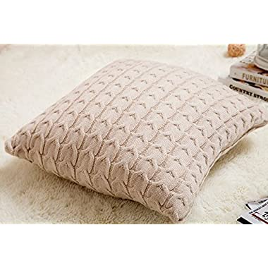 iSunShine Cotton Knitted Decorative Cushion Cover(18x18 ) + Pillow(19.5x19.5 ) Double-Cable Knitting Patterns Super Soft Square Warm Pillow Cover, Pillow Inner + Cover, Beige, Cover + Pillow