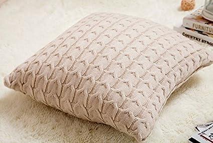 Amazon Isunshine Cotton Knitted Decorative Cushion Cover Double