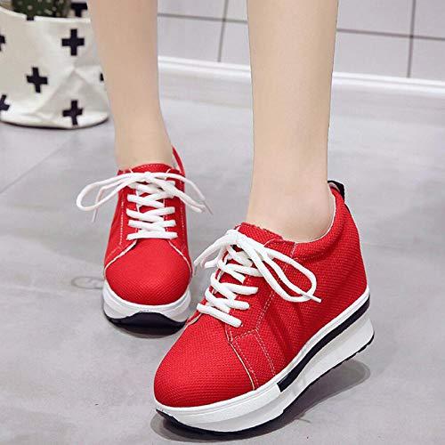 Moda Suela Gruesa red Otoño Casual Invierno Lona Mujer Zapatos Encaje amortiguación Chica Mujer GUNAINDMX oscilación oscilación Delgada cuña de hasta xfOt6wxq