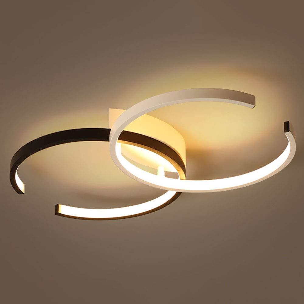 Modern 36W LED-Deckenleuchten Schwarz Weiß Aluminium Innen Deckenlampen 2-C-Form Design Schlafzimmerlampe für Wohnzimmer Esstisch Schlafzimmer Gang 4000K Natürliche Licht,55 * 32CM