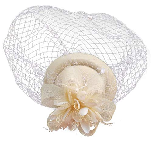Fascinator Hats Pillbox Hat British Bowler Hat Flower Veil Wedding Hat Tea Party Hat (Beige) -
