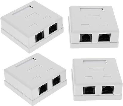 non-brand 4 Paquetes De 2 Puertos Rj45 Cat5e Cat6 Red Cable Pared Montaje En Superficie Adhesivo Caja: Amazon.es: Electrónica