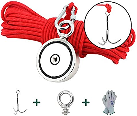 Non-Slip Gloves Includes Strong 500 lb Neodymium Magnet 500 lb Fishing Magnet Kit 65ft Nylon Rope with Carabiner Thread Tape and a Hard-Plastic Case