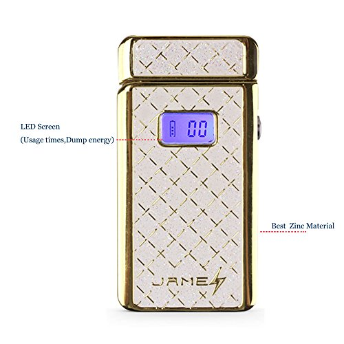 Flameless Electronic Dual arc Lighter Coil Lighter with LED Screen Usage Count Battery Capacity (Gold)