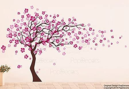 Sticker mural par BDECOLL,vinyle motif arbre /à c/œurs pour chambres denfants et d/écoration maison //D/écoration murale en fleurs //Autocollant mural darbre de nature