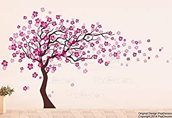Pink Blossom Tree Wall Stickers Nursery Large Tree Flowers Wall Decals For Living  Room Wall Art Part 58