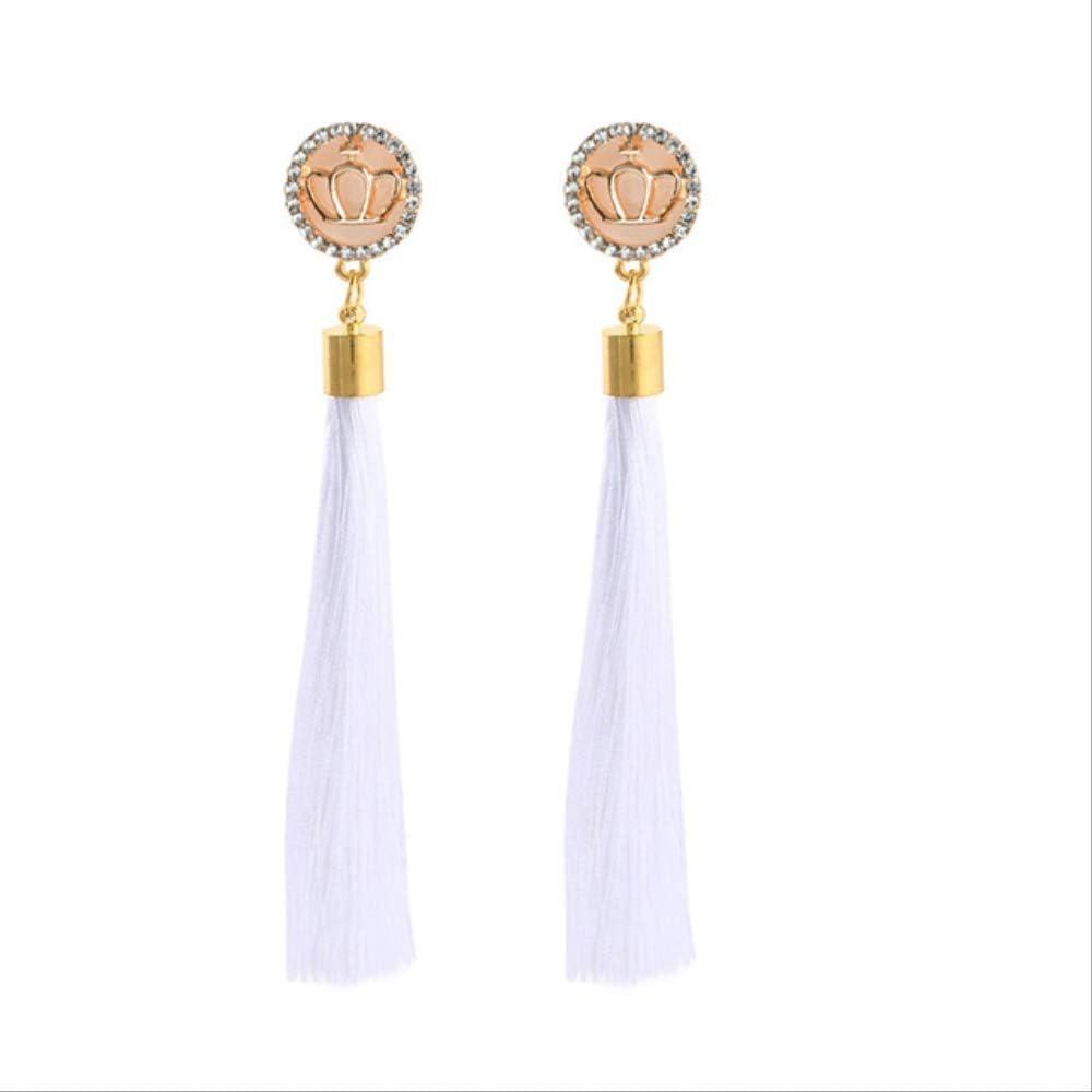GAGF Pendientes Pendientes de flecos de flores de cristal negro pendientes geométricos largos pendientes de borla largos para mujeres regalo de joyería de modaER5856
