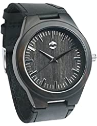 QUANTUM MMNT Mens Dark Wooden Watch w/ Genuine Brown Leather Strap and Japanese Analog Miyota Quartz Movement