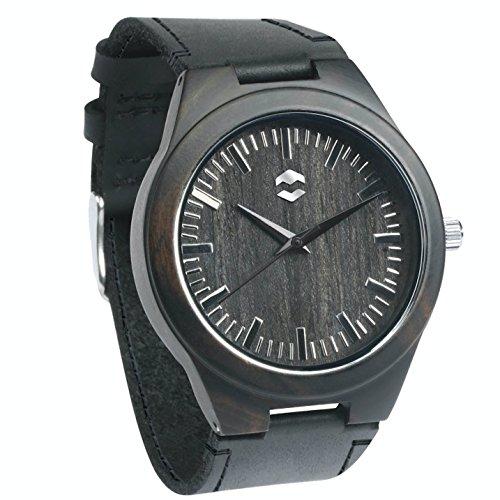 Quantum MMNT Men's Dark Wooden Watch w/Genuine Brown Leather Strap and Japanese Analog Miyota Quartz Movement by MMNT Watches