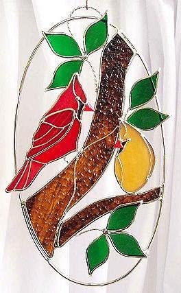 Cardinal Couple in Stained Glass Oval Ring