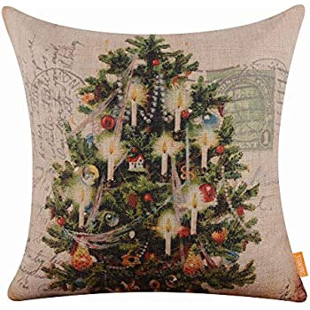 LINKWELL 45x45cm Shabby Chic Look Merry Christmas Collection Deer Christmas Tree Santa Claus Snowman Rabbit Burlap Pillow Case Cushion Cover with 1pc Coaster (CC615)