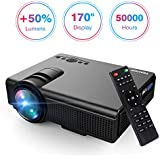 "Projector, Upgraded Lumens TENKER Mini Projector With 170"" Display LED Full HD Video Projector, Compatible With 1080P HDMI, Fire TV Stick, VGA, USB, AV for Home Theater Entertainment, Party and Games"
