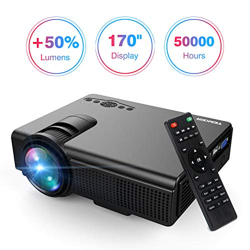 Projector, Upgraded Lumens TENKER Mini Projector with Big Display LED Full HD Video Projector, Compatible with 1080P HDMI, Fire TV Stick, VGA, USB, AV for Home Theater Entertainment, Party and Games by TENKER