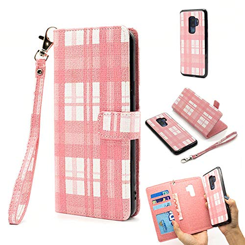 Price comparison product image iPhone 6 / 7 / 8 Plus Case, Earcase PU Leather Wallet Cover Flip Fold Credit Card Slots Magnetic Detachable Retro Plaid Stylish Stand Shockproof Anti-Drop Soft TPU for 5.2 inch iPhone 6 / 7 / 8 Plus-Pink