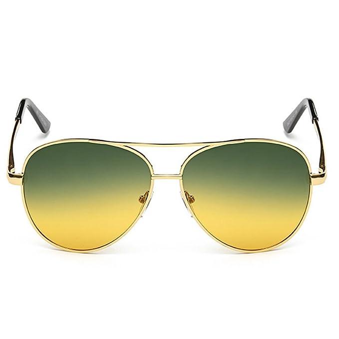 NBHUZEHUA Day Night Vision Glasses Polarized Sunglasses for Driving Anti Glare Yellow Lens Gold Frame Q4Fjo91