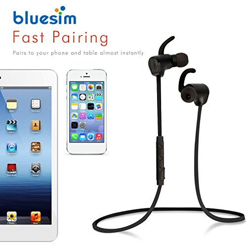 Bluesim Bluetooth Headphones with Microphone - 4.1 Wireless Bluetooth Earbuds for Running, Super Magnetic Neckband Earphones Noise Cancelling Bluetooth Headphones by Bluesim (Image #4)