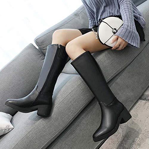 Bota Boot Knight Pu Mid 40 Calf Zipper Tamaño Rodilla Mujeres Alta Retro 35 Round Toe Martin Eu Boots AxxXt7T