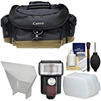 Canon 10EG Deluxe Digital SLR Camera Case - Gadget Bag with Flash + Reflector + Diffuser + Cleaning Kit for Rebel T6s, T6i, T7i, EOS 77D