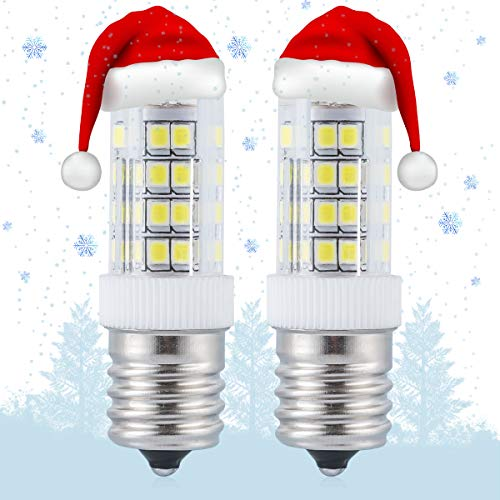 E17 LED Bulb Over Counter Microwave Oven Light Non-Dimmable 4 Watt Daylight White 6000K for Large Christmas Llights and Ceiling Fan Llight Fixture (Pack of 2)
