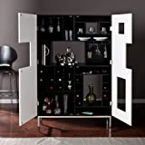 Southern Enterprises Shadowbox Wine/Bar Cabinet, Black For Sale