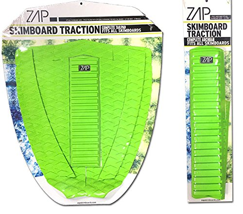 Zap Skimboard Deluxe Traction Pad Set/Skim Board Grip Combo/Tail Pad & Arch Bar (Green)