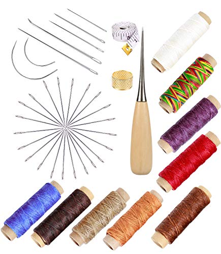 49 Pcs Leather Craft Tools,Upholstery Repair Kit with 7 Pieces Curved Upholstery Hand Sewing Needles with 9 Colors 150D Leather Waxed Thread Cord and 30 Pcs Large-Eye Stitching Needles