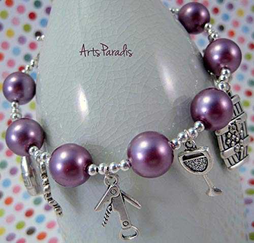 Wine Grape Lover Purple and Silvertone Glass Pearl Charm Bracelet by ArtsParadis - Vintners Corkscrew
