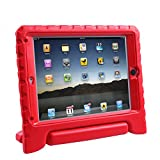 HDE iPad Air Bumper Case for Kids Shockproof Hard Cover Handle Stand with Built in Screen Protector for Apple iPad Air 1 (Red)