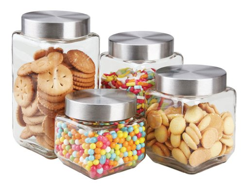 Home Basics 4 Piece Square Glass Canisters with Stainless Steel Airtight Screw On Lid - Glass Jar Stainless Steel Top