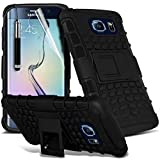 Galaxy S6 Edge Case, FoneExpert Heavy Duty ShockProof Rugged Impact Armor Hybrid Kickstand Protective Bag Cover Case For Samsung Galaxy S6 Edge + Screen Protector & Cloth (Black)