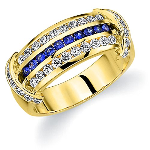 18K Yellow Gold Diamond & Sapphire Ring (.66 cttw, F-G Color, VVS1-VVS2 Clarity) Size 7.5 18k Yellow Gold Diamond Match
