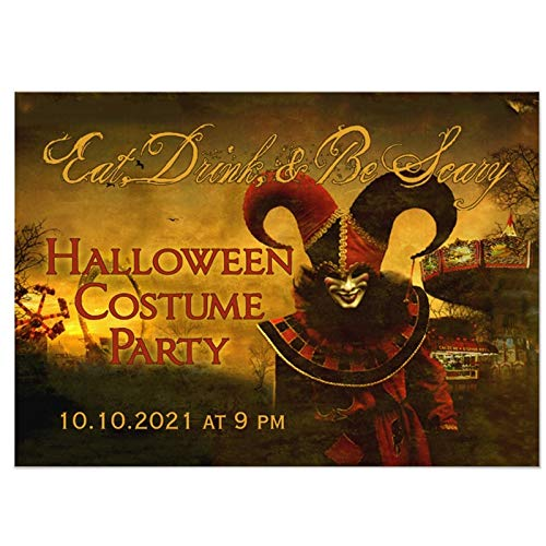 Best Quality - Cards & Invitations - Personalized Creepy Jester Carnival Halloween Invitation - by SeedWorld - 1 PCs