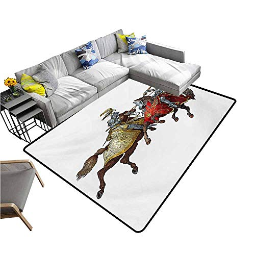 Thin Non-Slip Kitchen Bathroom Carpet Colorful Medieval,Middle Age Fighters Knights with Ancient Costume Renaissance Period Illustration,Multicolor 48