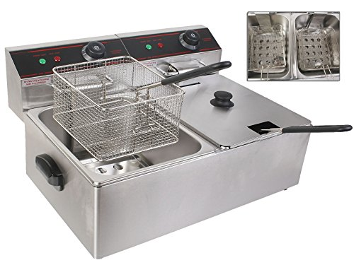 Electric 5000W Countertop Deep Fryer Dual Tank With Stainless Steel Fryer Basket And Multiple Safety Features TSE066A