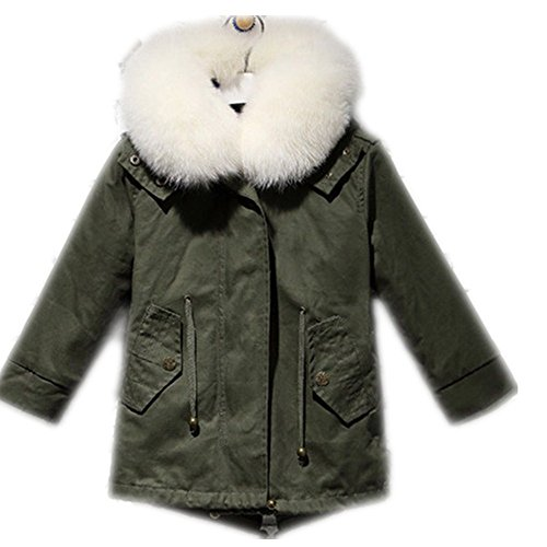 Big Chill Big Girls' Long Expedition Jacket baby real fur coat (9-11 years old, white) by Gegefur