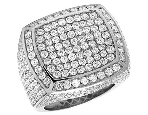 - 1.30TCW Mens Round 1.50TCW Diamond Cluster Ring in 925 Sterling-Silver